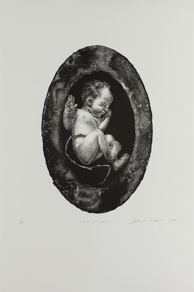 David O'Kane: A Child, Just Dropt, 2017, manière noire lithograph, 