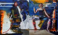 Rayk Goetze: Diptych 2 [Zustand], 2019, oil on canvas, 130 x 220 cm [2-parts]