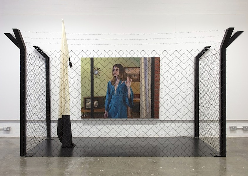 Ian Cumberland: False Flags [Installation], 2018, oil on linen, household paint, canvas, fabric, steel, barbed wire, varying dimensions [220 x 350 x 160 cm]