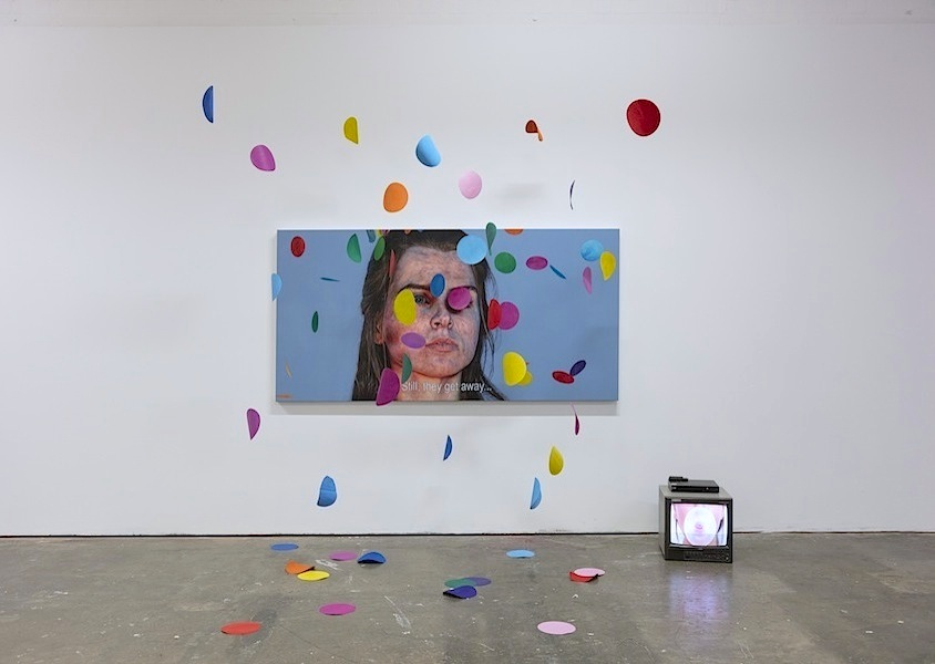 Ian Cumberland: Boom and Bust [Installation], 2018, oil on linen, video loop, various dimensions