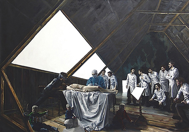 David O'Kane: Dissection, 2009, Öl auf Leinwand, 210 x 300 cm 