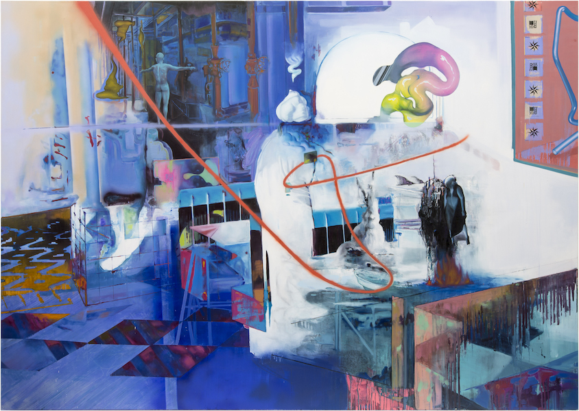 Rui Zhang: A Glace Over My Head, 2020,  oil tempera and spray paint on canvas, 170 x 240 cm